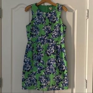 J. Crew Factory Green Blue Floral Print Dress 8 M